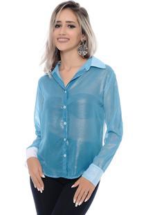 Camisa Chiffon B Bonnie Azul