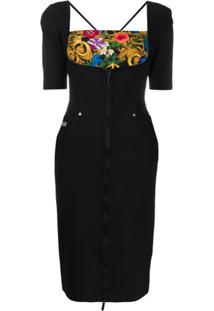 Versace Jeans Couture Vestido Com Recorte Contrastante E Zíper - Preto