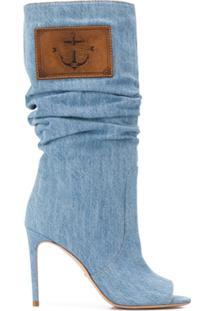 Elisabetta Franchi Bota Com Abertura Frontal E Patch De Logo - Azul