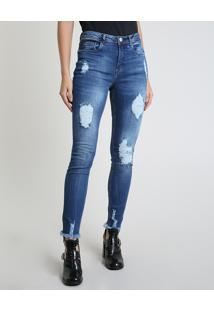 Calça Jeans Feminina Skinny Cintura Alta Destroyed Azul Escuro