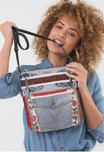 Bolsa Tiracolo Desigual Jeans Recortes Azul