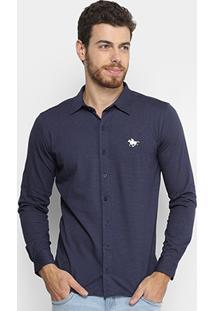 Camisa Manga Longa Rg 518 Ponto Bordado Masculina - Masculino-Marinho