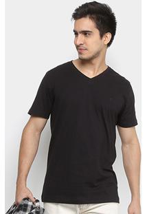 Camiseta Forum Gola V Básica Masculina - Masculino-Preto
