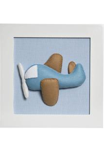 Quadro Decorativo Avião Quarto Bebê Infantil Menino Potinho De Mel Azul