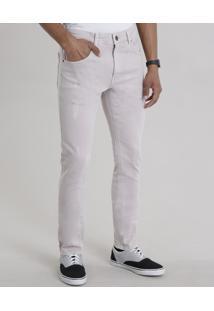 Calça Jeans Super Skinny Com Algodão + Sustentável Rosê