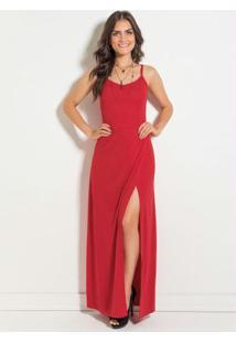 Vestido Longo Vermelho Com Transpasse E Fenda