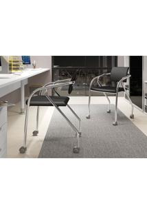 Conjunto 2 Cadeiras Carraro 1713 Para Escritório - Cromado/Preto