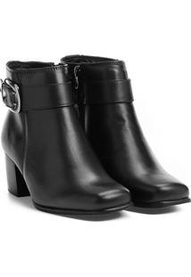 Bota Couro Cano Curto Shoestock Bico Quadrado Fivela Feminina - Feminino-Preto