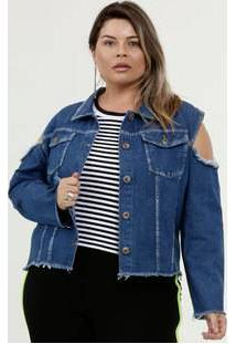 Jaqueta Feminina Jeans Destroyed Plus Size Razon