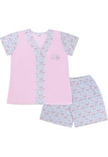Conjunto Pijama Adulto Com Botões Frontal Borboleta Rosa Bebê - Amigo Do Sono - Tricae