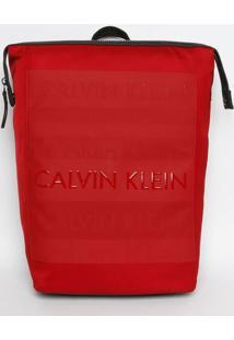 Mochila Com Logos Texturizados - Vermelha & Preta - Calvin Klein