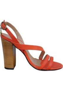 Sandália Couro Sapatos E Botas Salto Alto Bloco Tiras Feminina - Feminino-Coral