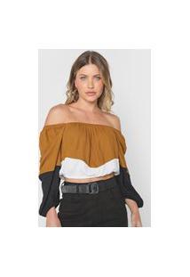 Blusa Cropped Triton Color Block Caramelo/Branco