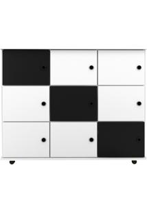 Nicho Multiuso Organizador Com RodãZios Am㣠9 Portas Branco/Branco/Preto - Mpozenato - Branco - Dafiti