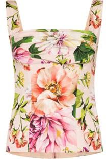 Dolce & Gabbana Gathered Floral-Print Silk-Blend Top - Neutro