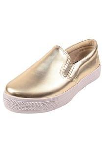 Tênis Casual Calce Fácil Rosa Chic Calçados Sapatênis Iate Napa Dourado