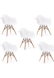 Cadeira Império Brazil Cadeira Charles Eames Wood Com Braço Policarbonato Transparente - Tricae