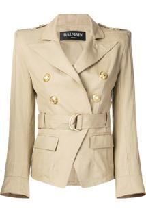 Balmain Belted Double-Breasted Jacket - Neutro