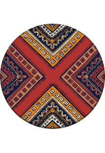 Tapete Love Decor Redondo Wevans African Multicolorido 94Cm - Vermelho - Dafiti