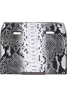 Tampa Avulsa Shoestock Bolsa Snap Flap Costas - Feminino-Preto+Branco