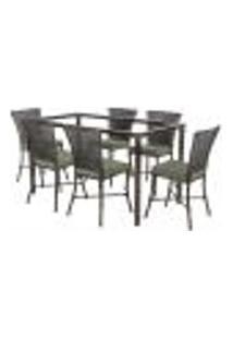 Jogo De Jantar 6 Cadeiras Turquia Tabaco A30 E 1 Mesa Retangular Sem Tampo Ideal Para Área Externa Coberta