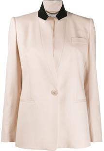 Stella Mccartney Contrast Collar Single-Breasted Blazer - Rosa