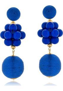 Brinco Le Diamond Fios De Seda E Cacho De Resinas Azul Roial