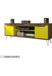 Rack Chanel- Madeira Rústica & Amarelo- 58,5X160X36Cbechara