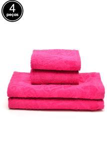 Jogo De Banho 4Pçs Atlântica Sensação Fiore Rosa