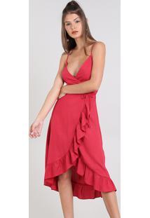 Vestido Feminino Midi Envelope Alça Fina Vermelho