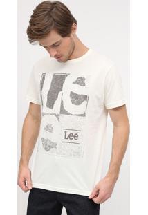 """Camiseta Estonada """"Leeâ®""""- Bege Claro & Cinzalee"""