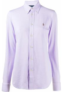 Polo Ralph Lauren Camisa Oxford Com Logo Bordado - Roxo