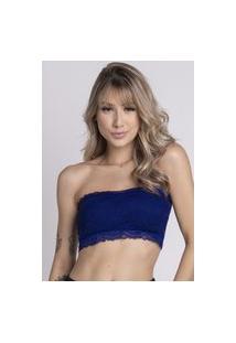 Sutiã Feminino Serra E Mar Modas Tomara Que Caia Top Renda Azul Royal