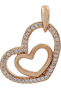 Pingente Narcizza Semijoias Coração Vazado Com Detalhes Cristal Ouro Rosê