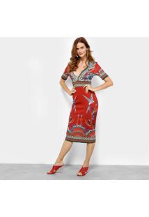 Vestido Colcci Evasê Midi Estampado - Feminino-Vermelho
