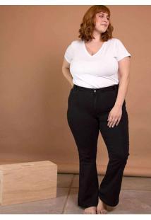 Calça Jeans Flare Cintura Média Plus Size Preto Pr