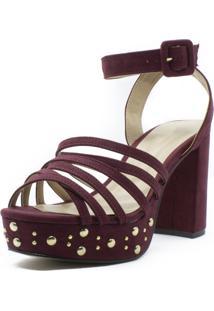 Sandália Meia Pata Shoes Inbox Com Tachas Salto Bloco Vinho