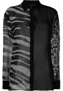 Philipp Plein Blusa Translúcida Com Estampa De Zebra - Preto