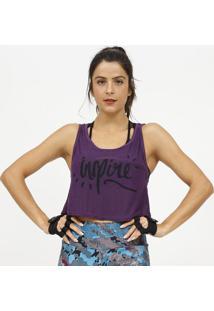Blusa Cropped Com Micro Furos- Roxa & Preta- Patrapatra
