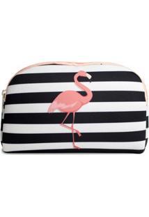 Necessaire Em Neoprene Tritengo Flamingo Listras - Feminino-Preto+Branco