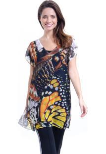 Blusa 101 Resort Wear Tunica Decote V Crepe Estampado Borboleta - Amarelo/Preto - Feminino - Poliã©Ster - Dafiti
