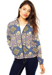Jaqueta Enfim Estampada Azul/Amarela