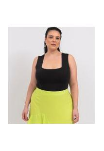 Body Alça Larga Liso Com Decote Quadrado Curve & Plus Size   Ashua Curve E Plus Size   Preto   G