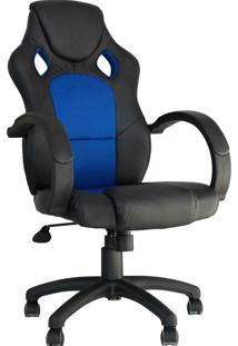 Cadeira Office Gamer Racer -Rivatti - Preto / Azul