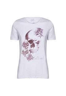Camiseta Feminina Caveira Rosas Lets Rock Branco