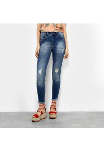 e30e56b8b ... Calça Jeans Cigarrete Colcci Bia Estonada Rasgos Cintura Alta Feminina  - Feminino