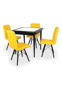Conjunto Mesa De Jantar Em Madeira Preto Prime Com Azulejo + 4 Cadeiras Gomos - Amarelo