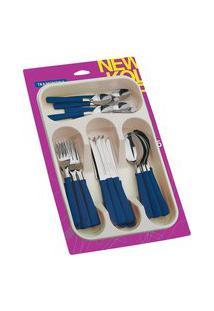 Faqueiro Tramontina 23198175 Inox 25 Peças Com Gaveteiro Azul