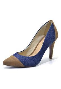 Sapato Scarpin Salto Alto Fino Em Tecido Jeans Azul E Nobucado Marrom