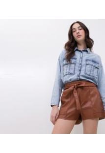 Camisa Jeans Com Bolso Frontal